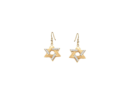 CZ Studded Magen David Dangle Earring
