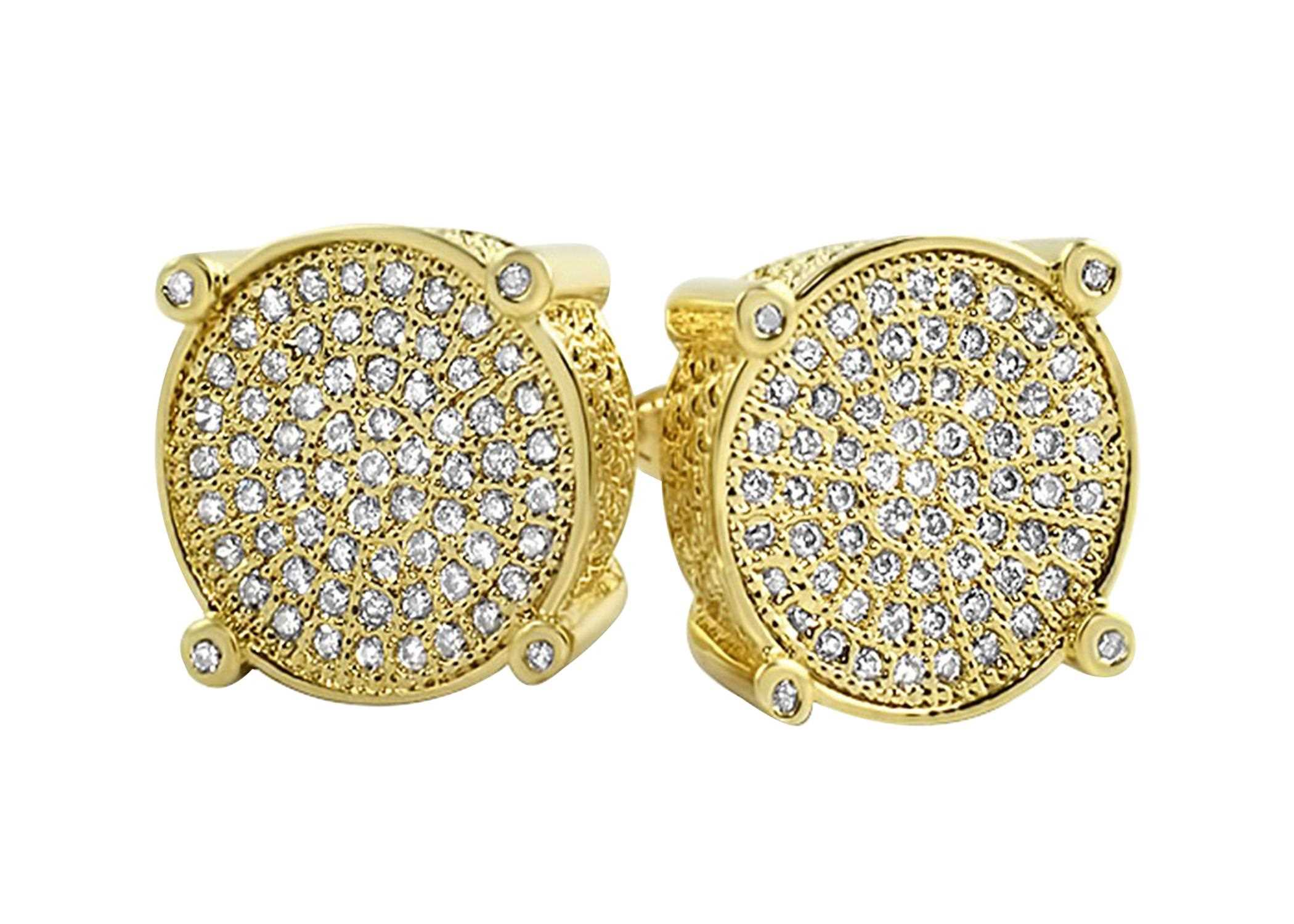 7c5d9291b Gold Plated Micro Pave Hip Hop Earrings
