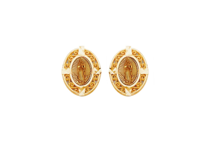 Gold Plated Filigree Virgin Mary Earring