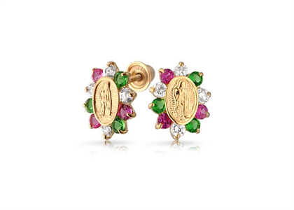 Multi Color CZ Virgin Mary Stud Religious Earring