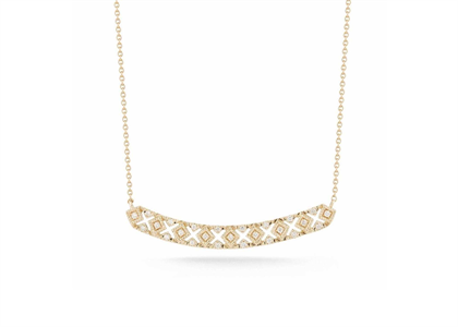 CZ Studded Gold Plated Horizontal Curved Bar Pendant