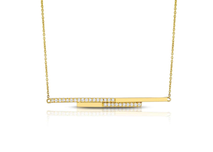 CZ Studded Double Bar Pendant with Gold Plated