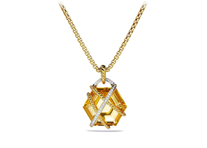 Gold Plated CZ Studded Champagne Hexagon Cut Pendant