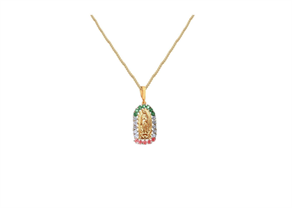 Gold Plated CZ Studded Multicolored Virgin Mary Pendant