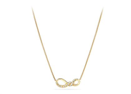 Gold Plated Twist Infinity CZ Studded Pendant