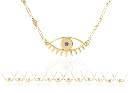Gold Plated Evil Eye Pendant with Blue Gemstone