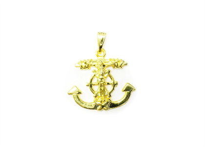 Gold Plated Jesus Cross Anchor Pendant