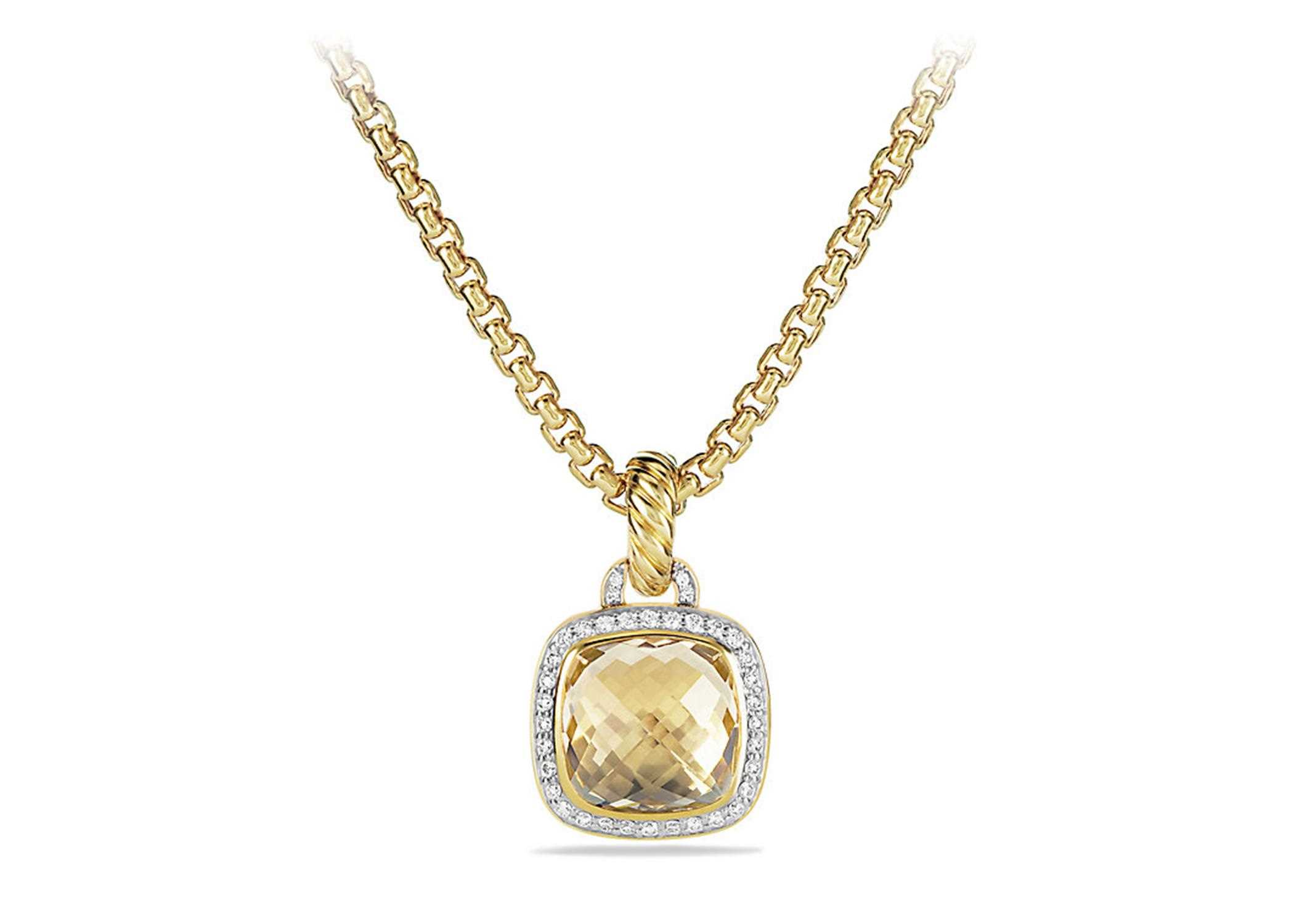 nadri necklace yellow gold lyst pendant cushion gallery halo plated cut jewelry
