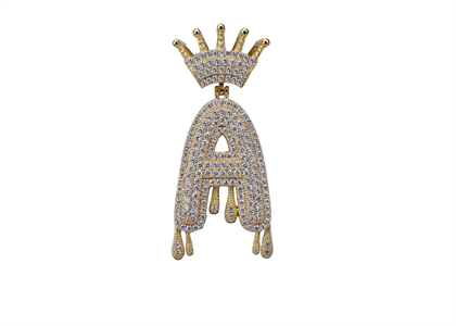 Iced Out Crown Drip Pendant