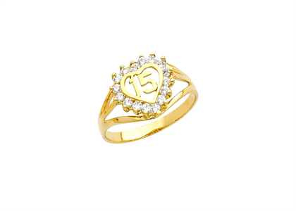 Gold Plated CZ Studded Numerical Ring