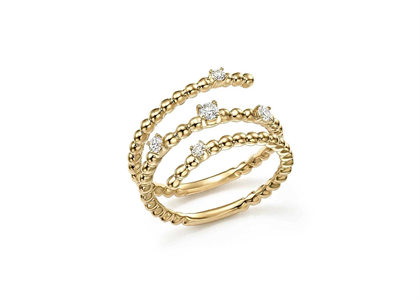 Fashionable Beaded Stack Ring with Gold Plated