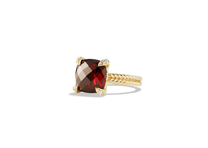 Gold Plated CZ Studded Ruby Cushion Cut Ladies Ring
