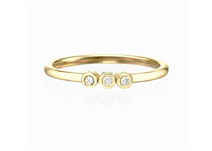 Gold Plated CZ Studded Ladies 3 Bezel Set Ring