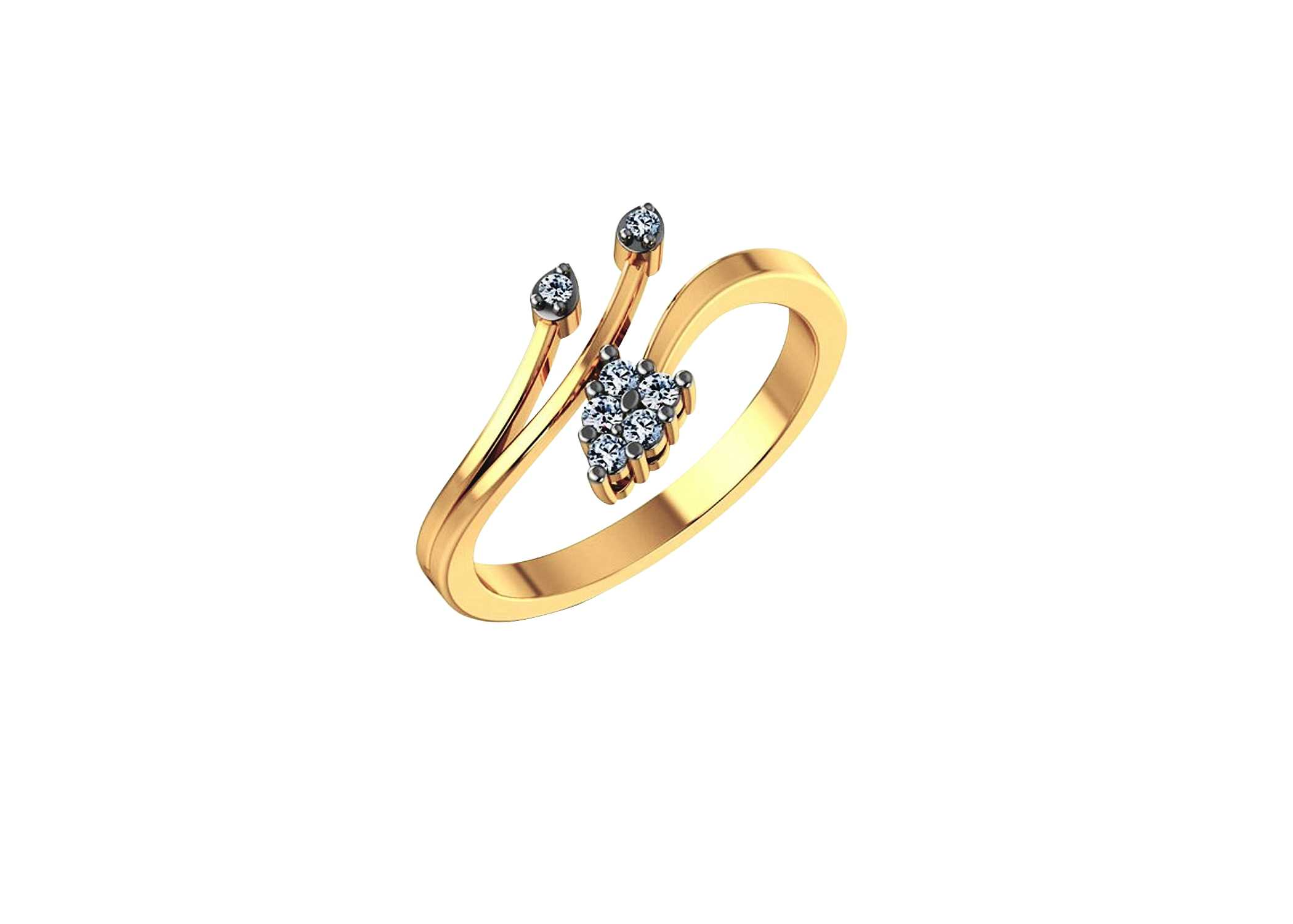dia gold diamond round a right rings leaf ladies hand cluster wg ring h cut real jewellery itm